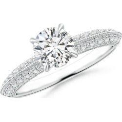 Diamond Solitaire Knife Edge Engagement Ring with Accents found on Bargain Bro Philippines from Angara Jewelry for $3429.00