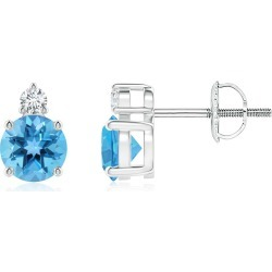 Basket-Set Round Swiss Blue Topaz Stud Earrings with Diamond found on Bargain Bro India from Angara Jewelry for $509.00