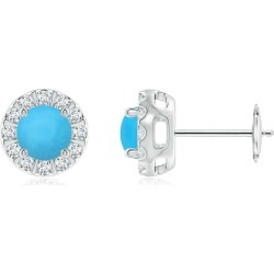 Turquoise Stud Earrings with Bar-Set Diamond Halo found on Bargain Bro India from Angara Jewelry for $1519.00