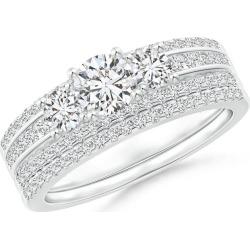 Triple-Row Diamond Classic Three Stone Bridal Ring Set