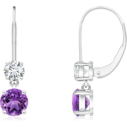 Round Amethyst Leverback Dangle Earrings with Diamond found on Bargain Bro India from Angara Jewelry for $799.00