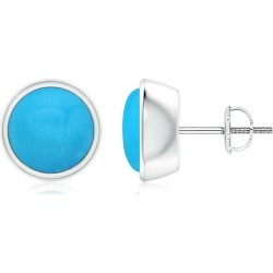 Bezel-Set Round Cabochon Turquoise Stud Earrings found on Bargain Bro India from Angara Jewelry for $1989.00