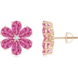 Nature Inspired Pink Sapphire & Diamond Flower Earrings