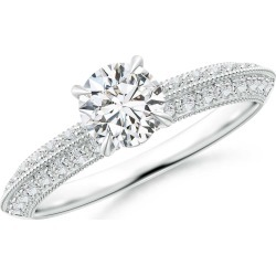Diamond Solitaire Knife Edge Engagement Ring with Accents found on Bargain Bro India from Angara Jewelry for $3159.00