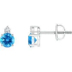 Basket-Set Round Swiss Blue Topaz Stud Earrings with Diamond found on Bargain Bro India from Angara Jewelry for $499.00