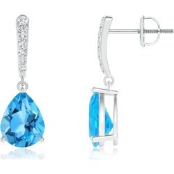 Solitaire Swiss Blue Topaz Drop Earrings with Diamonds found on Bargain Bro India from Angara Jewelry for $979.00