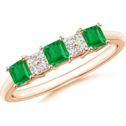 Diamond Cluster and Three Stone Square Emerald Ring found on Bargain Bro India from Angara Jewelry for $839.00