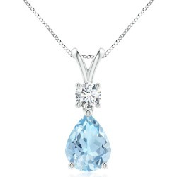 Pear-Shaped Aquamarine V-Bale Pendant found on MODAPINS from Angara Jewelry for USD $2449.00