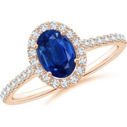 Oval Sapphire Halo Ring with Diamond Accents found on Bargain Bro India from Angara Jewelry for $1959.00