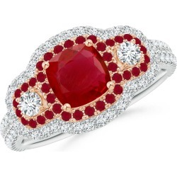 Ruby & Diamond Three Stone Double Halo Two Tone Ring found on Bargain Bro India from Angara Jewelry for $3899.00
