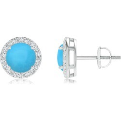 Vintage-Inspired Round Turquoise Halo Stud Earrings found on Bargain Bro India from Angara Jewelry for $1549.00