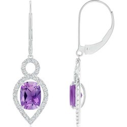 Cushion Amethyst Infinity Drop Earrings with Diamonds found on Bargain Bro India from Angara Jewelry for $2279.00