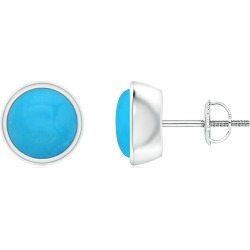 Bezel-Set Round Cabochon Turquoise Stud Earrings found on Bargain Bro India from Angara Jewelry for $1409.00