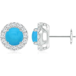 Turquoise Stud Earrings with Bar-Set Diamond Halo found on Bargain Bro India from Angara Jewelry for $2459.00