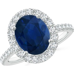 Oval Sapphire Halo Ring with Diamond Accents found on Bargain Bro India from Angara Jewelry for $4459.00