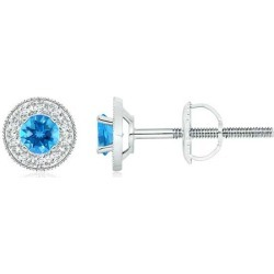 Swiss Blue Topaz Margarita Stud Earrings with Diamond Halo found on Bargain Bro India from Angara Jewelry for $1289.00