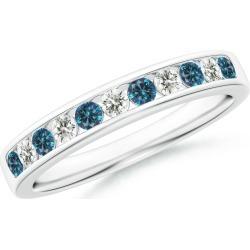 Enhanced Blue and White Diamond Semi Eternity Wedding Band found on Bargain Bro India from Angara Jewelry for $2229.00