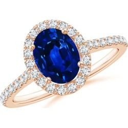 Oval Sapphire Halo Ring with Diamond Accents found on Bargain Bro India from Angara Jewelry for $4799.00