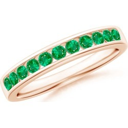 Channel Set Half Eternity Emerald Wedding Band found on Bargain Bro India from Angara Jewelry for $929.00