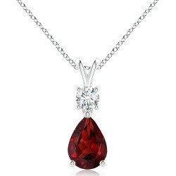 Pear-Shaped Garnet V-Bale Pendant found on MODAPINS from Angara Jewelry for USD $1259.00