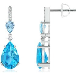 Pear-Shaped Swiss Blue Topaz and Aquamarine Drop Earrings found on Bargain Bro India from Angara Jewelry for $779.00