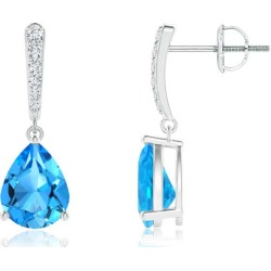 Solitaire Swiss Blue Topaz Drop Earrings with Diamonds found on Bargain Bro India from Angara Jewelry for $1619.00