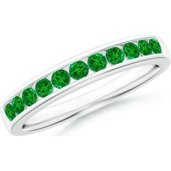 Channel Set Half Eternity Emerald Wedding Band found on Bargain Bro India from Angara Jewelry for $2049.00