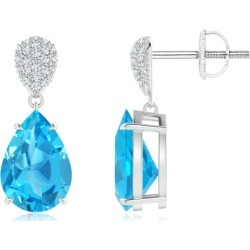 Claw-Set Swiss Blue Topaz Drop Earrings with Pear Motif found on Bargain Bro India from Angara Jewelry for $1659.00