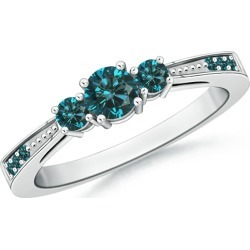 Cathedral Three Stone Blue Diamond Engagement Ring found on Bargain Bro from Angara Jewelry for USD $675.64