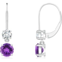 Round Amethyst Leverback Dangle Earrings with Diamond found on Bargain Bro India from Angara Jewelry for $1649.00