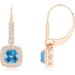 Vintage-Inspired Cushion Swiss Blue Topaz Leverback Earrings found on Bargain Bro India from Angara Jewelry for $1119.00