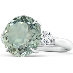 Classic GIA Certified Round Green Amethyst (Prasiolite) Three Stone Ring found on Bargain Bro India from Angara Jewelry for $5929.00