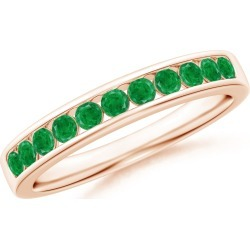 Channel Set Half Eternity Emerald Wedding Band found on Bargain Bro India from Angara Jewelry for $769.00