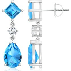 Square and Pear Swiss Blue Topaz Drop Earrings with Diamond found on Bargain Bro India from Angara Jewelry for $2949.00