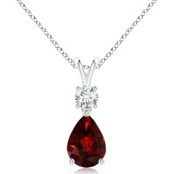 Pear-Shaped Garnet V-Bale Pendant found on MODAPINS from Angara Jewelry for USD $519.00