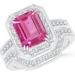 Emerald Cut Pink Sapphire Bridal Ring Set with Diamond Band