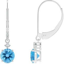 Solitaire Swiss Blue Topaz Dangle Earrings with Diamond found on Bargain Bro India from Angara Jewelry for $849.00