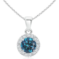 Round Blue and White Diamond Halo Pendant found on Bargain Bro from Angara Jewelry for USD $2,210.84
