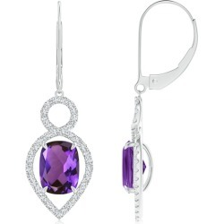 Cushion Amethyst Infinity Drop Earrings with Diamonds found on Bargain Bro India from Angara Jewelry for $2319.00