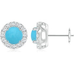 Turquoise Stud Earrings with Bar-Set Diamond Halo found on Bargain Bro India from Angara Jewelry for $1679.00