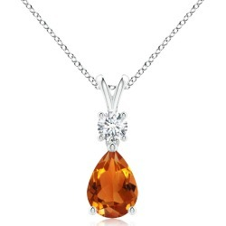 Pear-Shaped Citrine V-Bale Pendant found on MODAPINS from Angara Jewelry for USD $1029.00