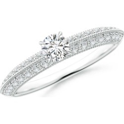 Diamond Solitaire Knife Edge Engagement Ring with Accents found on Bargain Bro India from Angara Jewelry for $1319.00