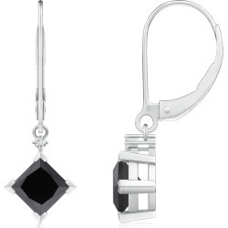 Princess-Cut Enhanced Black Diamond Leverback Earrings found on Bargain Bro Philippines from Angara Jewelry for $519.00