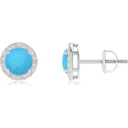 Vintage-Inspired Round Turquoise Halo Stud Earrings found on Bargain Bro India from Angara Jewelry for $1049.00