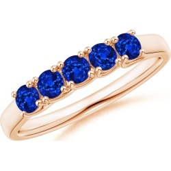 Half Eternity Five Stone Blue Sapphire Wedding Band found on Bargain Bro India from Angara Jewelry for $859.00