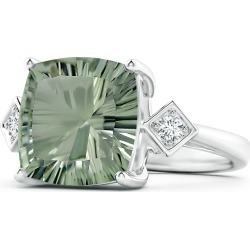GIA Certified Cushion Green Amethyst (Prasiolite) Ring with Diamonds found on Bargain Bro India from Angara Jewelry for $1909.00