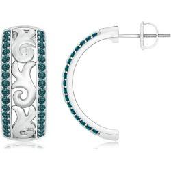 Vintage Style Blue Diamond Half Hoop Earrings found on Bargain Bro from Angara Jewelry for USD $1,800.44