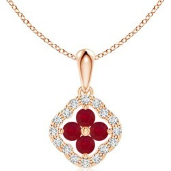 Diamond Framed Ruby Clover Pendant found on Bargain Bro India from Angara Jewelry for $439.00
