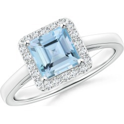 Classic Square Aquamarine Halo Ring found on Bargain Bro Philippines from Angara Jewelry for $2569.00
