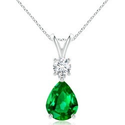 Pear-Shaped Emerald V-Bale Pendant found on MODAPINS from Angara Jewelry for USD $12089.00